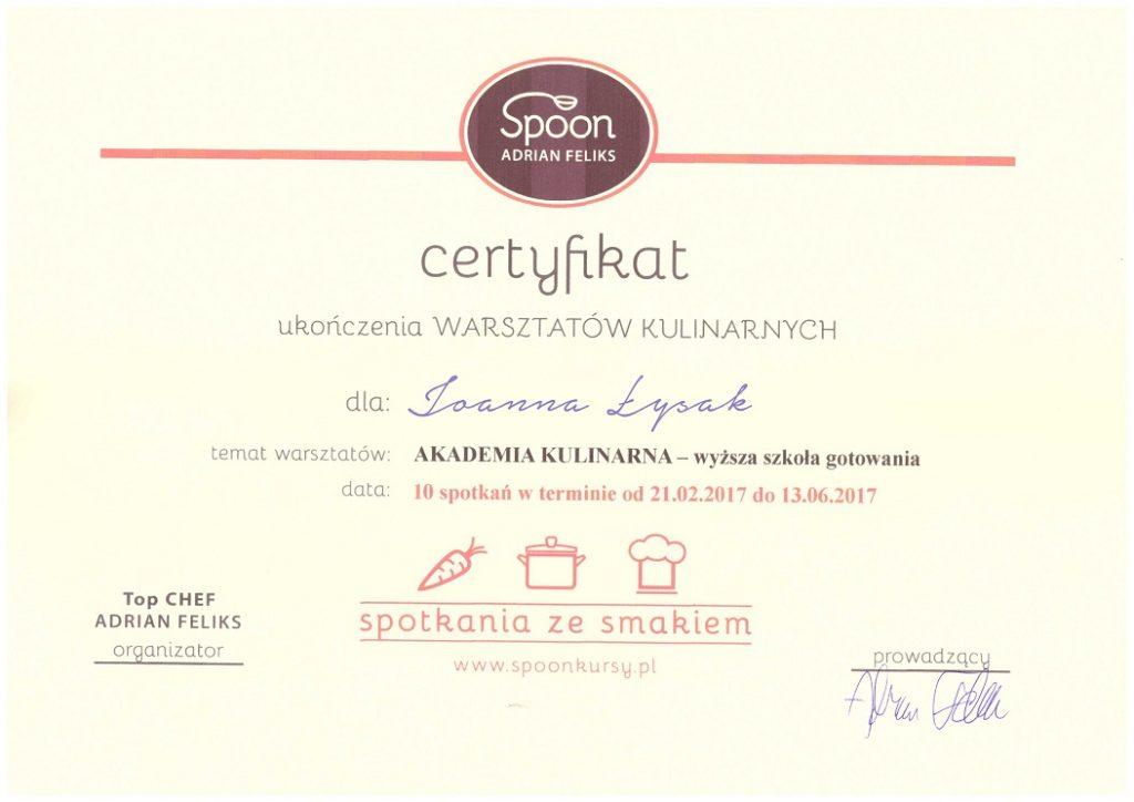 certyfikat z warsztatów kulinarnych